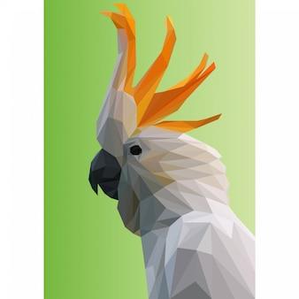 Lowpoly vecteur d'oiseau cacatoès