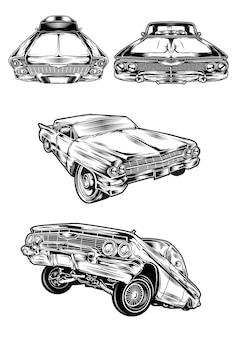 Lowrider voiture lineart