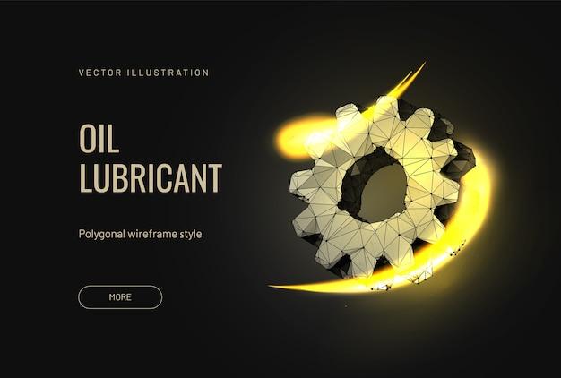 Lubrifiant à l'huile pour une voiture avec un engrenage dans un style polygonal futuriste