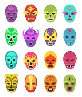 Lucha libre mask, vêtement de combat de lutteur martial sport uniforme masques de couleur icône colorée