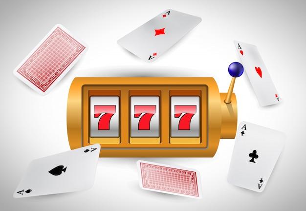 Lucky sept machines à sous et as de vol. publicité d'entreprise de casino