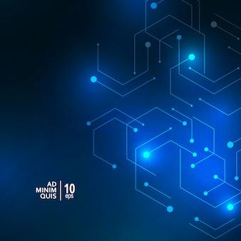 Lueur abstraite connecter des formes sur fond bleu foncé. structure de connexion avec concept de technologie moderne géométrique.