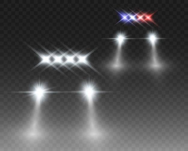 Lueur blanche réaliste faisceaux ronds de phares de voiture, isolés. voiture de police. la lumière des phares. patrouille de police.