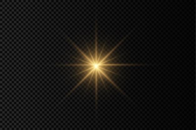Lueur brillante étoile éclatante de lumière jaune rayons de soleil éclat de soleil