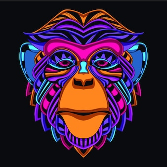 Lueur dans le singe décoratif sombre de couleur néon