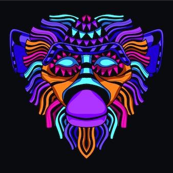 Lueur dans la tête de singe sombre