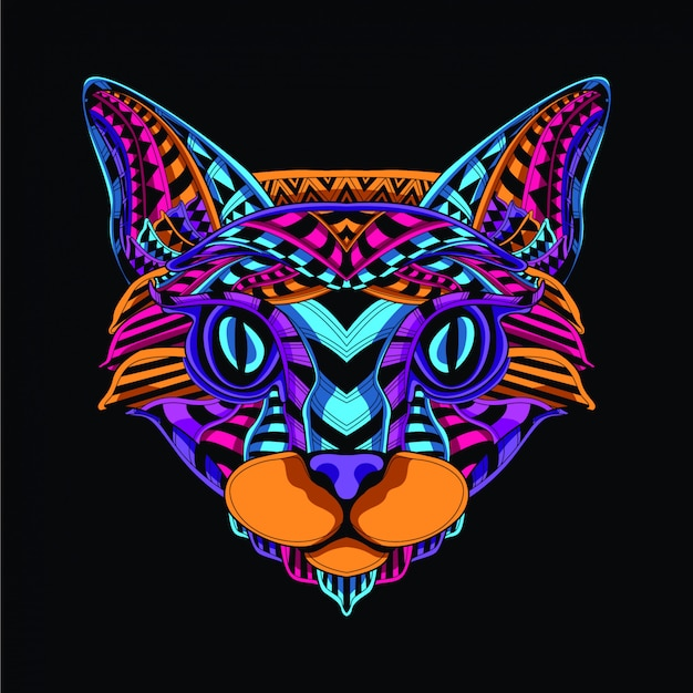 Lueur dans le visage de chat décoratif sombre