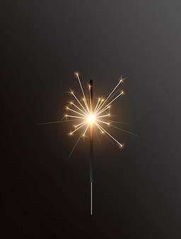 Lumière de bengale de vacances réaliste, avec étincelle brillante