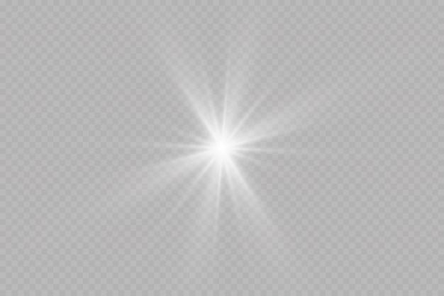 Une lumière blanche éclatante explose. avec ray. soleil brillant transparent, flash lumineux. le centre d'un flash lumineux.