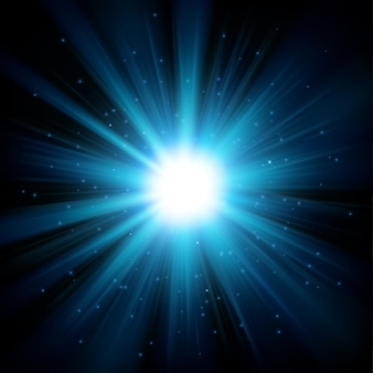 La lumière bleue brille de l'obscurité