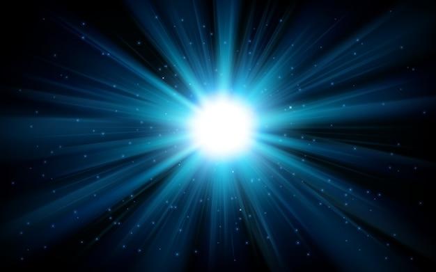 Lumière bleue qui brille du fond de l'obscurité