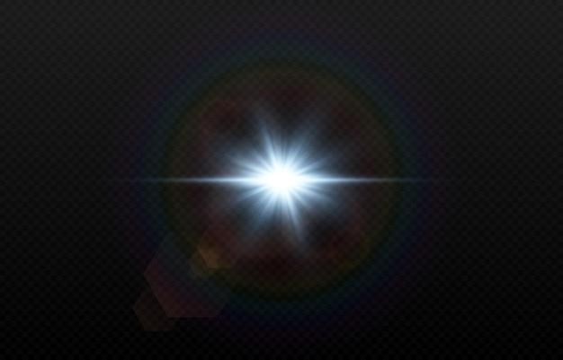 Lumière bleue avec des reflets de lentille. soleil, rayons de soleil, aube