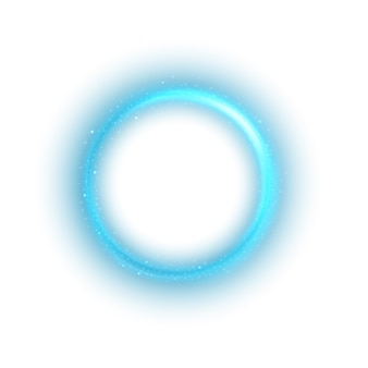 Lumière bleue ronde tordue sur fond blanc