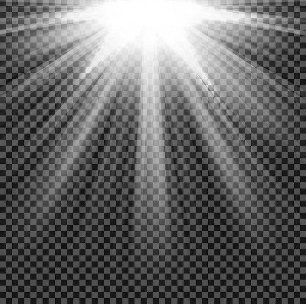 La lumière brille sur fond transparent