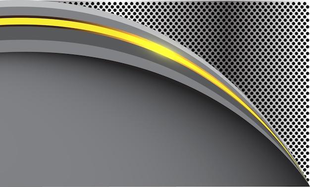 Lumière de courbe jaune abstraite sur maille de cercle argenté avec blanc gris