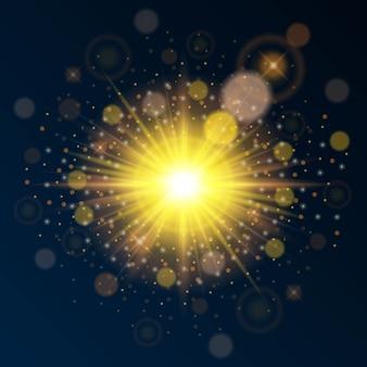 Lumière dorée brillante de haute qualité pour le nouvel an et noël. utilisez un effet de soleil intense.