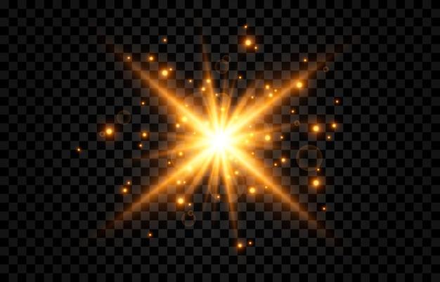 Lumière dorée un éclair de lumière une lueur magique particules d'étincelles soleil rayons du soleil png lumière png