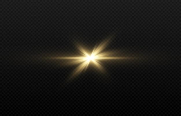 Lumière dorée sur fond transparent