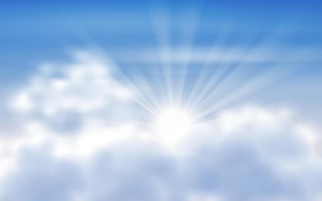 Lumière Du Soleil Et Ciel Bleu Avec Des Nuages Vecteur Premium