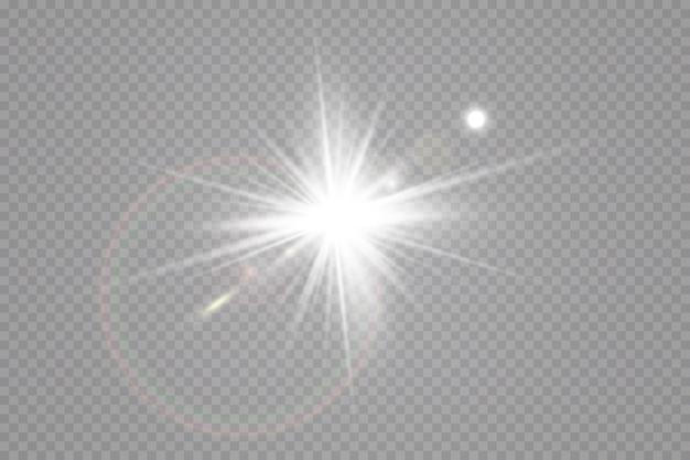 Lumière du soleil, effet de lumière glow. éblouissement du soleil . star a flashé des paillettes.