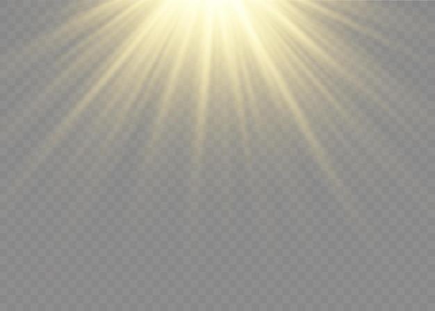 Lumière du soleil, effet de lumière spécial, flash de lentille solaire