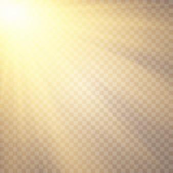 Lumière du soleil. effets de lumière luisante. paillettes flash flash. éblouissement du soleil . effet de lumière parasite spécial.