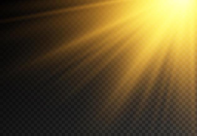 Lumière du soleil avec explosion brillante, effet de flare avec des rayons de lumière