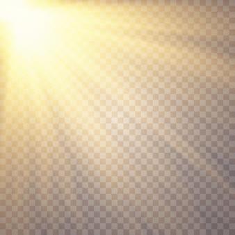 Lumière du soleil sur fond transparent effets de lumière luminescente paillettes étoilées éblouissement du soleil sur fond transparent, la lentille scintille effet de lumière de lumière parasite spécial de la lumière du soleil transparente de vecteur