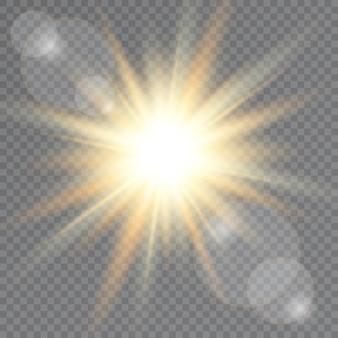 Lumière du soleil sur fond transparent
