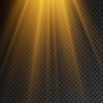 La lumière du soleil avec la lumière magique d'explosion lumineuse scintille l'effet de faisceau jaune des rayons du soleil