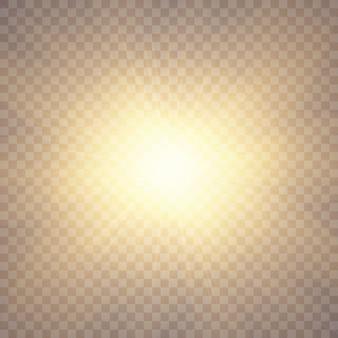 La lumière du soleil avec des paillettes sur transparent