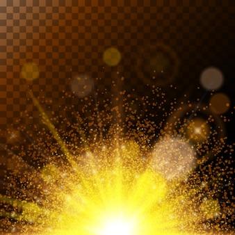 Lumière du soleil réaliste lumières magiques impressionnantes, poussière d'or