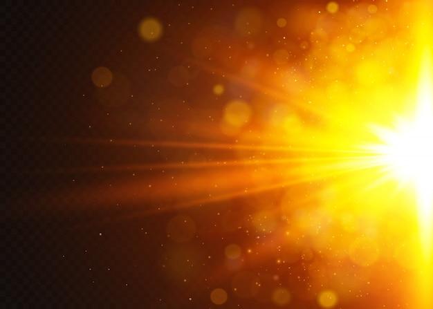 Lumière du soleil transparente effet spécial lumière parasite. flash solaire avec rayons et projecteurs