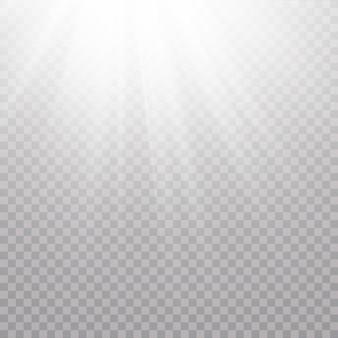 Lumière du soleil transparente scène de vecteur éclairée par un projecteur. effet de lumière sur fond transparent