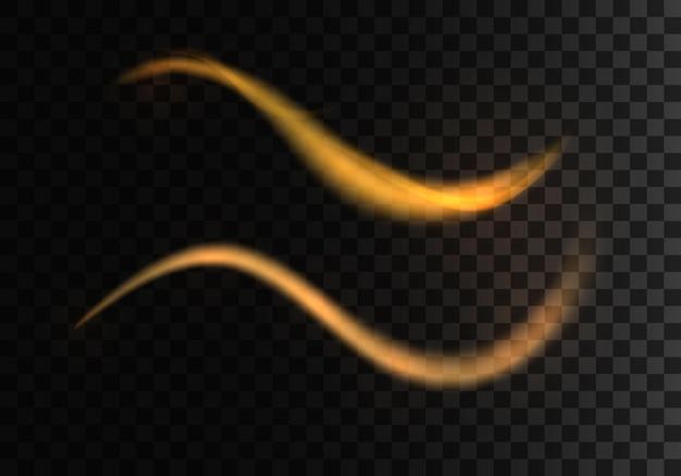 La lumière étincelante dorée traîne l'effet de lignes en spirale brillantes futuristes flash wave