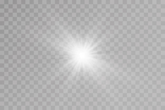 La lumière explose sur un fond transparent