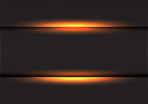 Lumière jaune sur fond de maille hexagonale sombre.