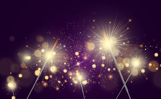 Lumière magique sparkler candle scintillant sur le fond effet de lumière vectorielle réaliste hiver