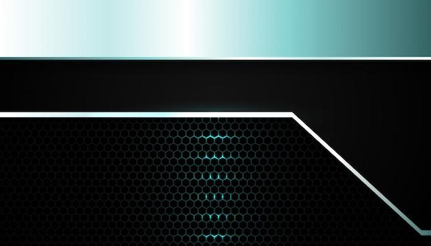 Lumière métallique bleue abstraite sur fond sombre hexagone