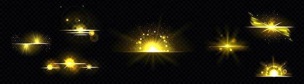 Lumière d'or, soleil radiant, ligne dorée, sunburst isolé sur fond noir