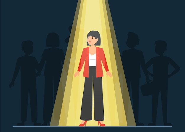 Lumière qui brille sur le bon candidat pour un emploi