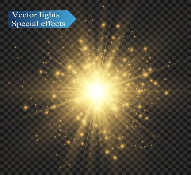 Lumière rougeoyante blanche. belle étoile lumière des rayons. un soleil avec des reflets.