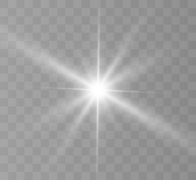 Lumière rougeoyante blanche. bright star, soleil brillant flash lumineux