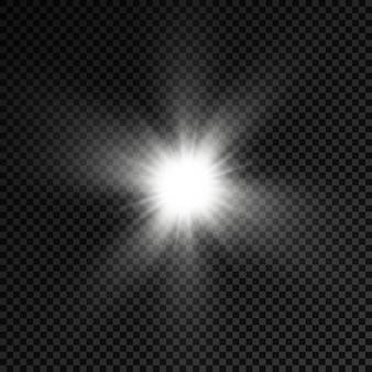 La lumière rougeoyante blanche éclate les étoiles brillantes les rayons du soleil l'effet lumineux de la lumière du soleil