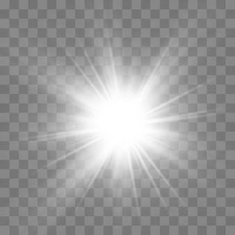 La lumière rougeoyante blanche éclate en explosion sur transparent.