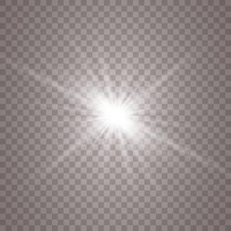 Lumière rougeoyante blanche. étoile brillante, soleil brillant.