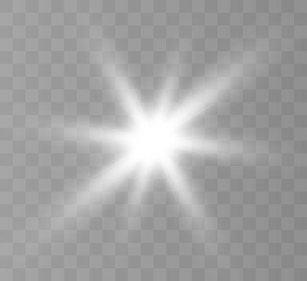 Lumière rougeoyante blanche. étoile brillante.