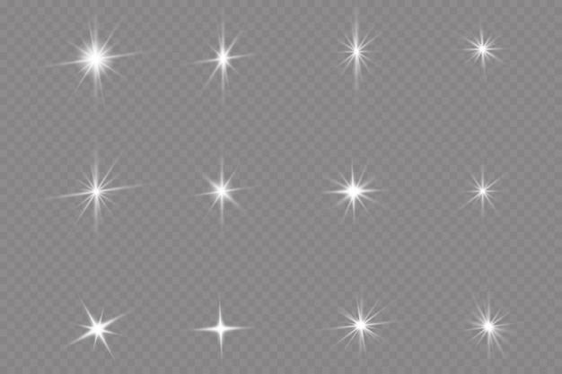 Une lumière rougeoyante blanche explose sur un fond transparent. étoile brillante. soleil brillant transparent, flash brillant.