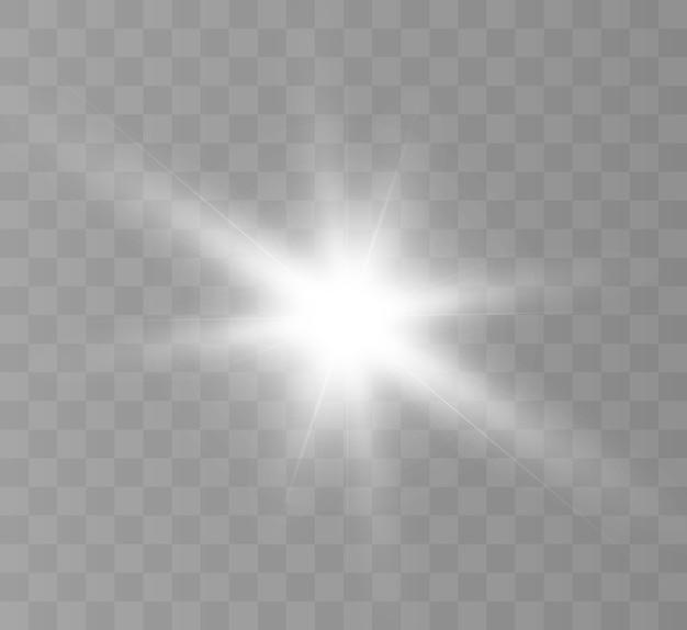 Une lumière rougeoyante blanche explose sur un fond transparent. étoile brillante. soleil brillant transparent, flash lumineux.