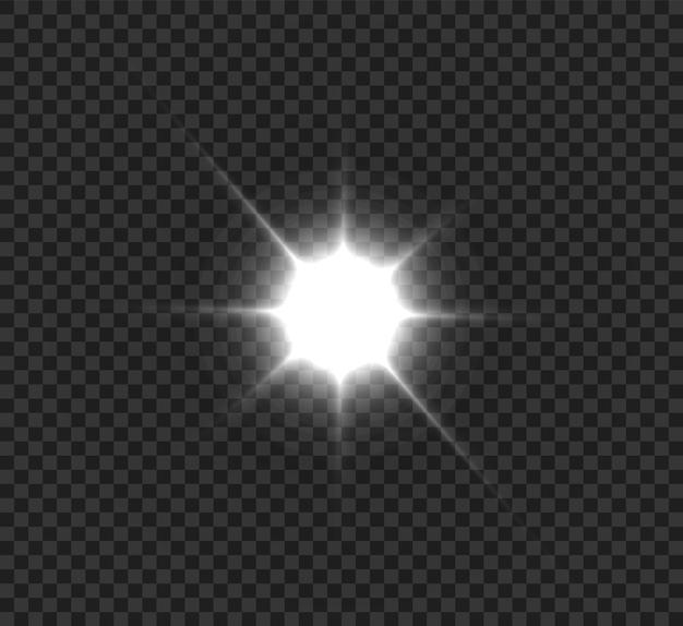 Une lumière rougeoyante blanche explose sur un fond transparent. étoile brillante